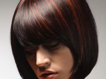 Haare rote strähnchen braune Strähnchen ganz