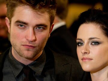 Robert Pattinson und Kristen Steward quer